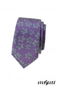 Fialová slim kravata s šedým vzorom