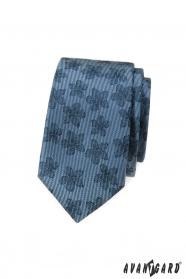 Modrá slim kravata s tmavým kvetinovým vzorom