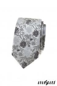 Slim kravata s šedým vzorom