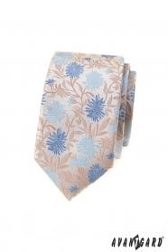 Béžová slim kravata s modrými kvetmi