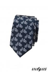 Modrá slim kravata s motívom bicykel