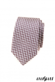 Slim kravata s púdrovo ružovým vzorom