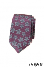 Tmavo ružová slim kravata s šedými kvetmi