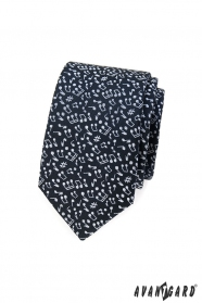 Úzka tmavomodrá kravata s notami