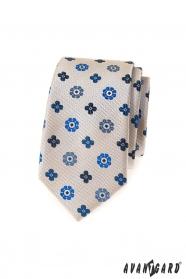 Béžová slim kravata s modrým vzorom