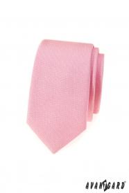 Ružová štruktúrovaná slim kravata