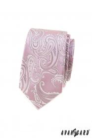 Ružová slim kravata s paisley motívom
