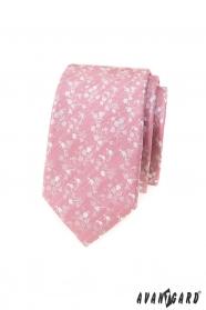 Púdrovo ružová slim kravata s bielym vzorom