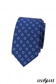 Modrá slim kravata s kvetmi