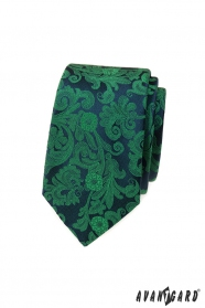Slim kravata so zeleným vzorom