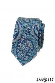 Slim kravata s modrým paisley motívom