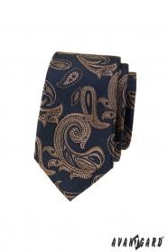Modrá slim kravata s hnedým paisley motívom