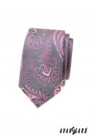 Šedá slim kravata s ružovým paisley vzorom