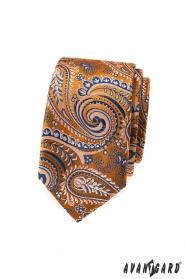 Oranžová slim kravata s modrým paisley vzorom