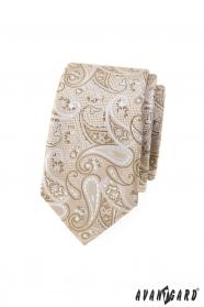 Béžová slim kravata s paisley vzorom