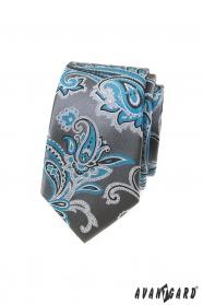 Šedá slim kravata s tyrkysovým paisley motívom