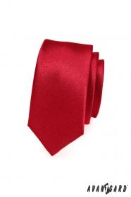 Hladká jednofarebná červená pánska kravata