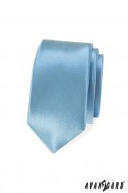 Bledo modrá, lesklá slim kravata