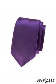 Hladká fialová úzka kravata