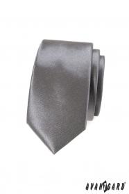 Pánska kravata SLIM grafitová jednofarebná