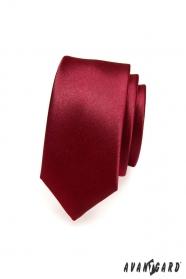 Hladká úzka bordová kravata SLIM