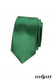 Slim kravata lesklom odtieni zelenej