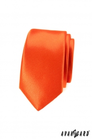 Kravata Slim sýto oranžová farba