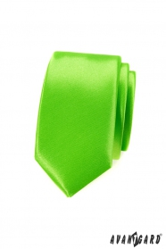 Pánska kravata SLIM zelená jednofarebná lesk