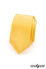 Pánska kravata SLIM LUX - Hladká žltá