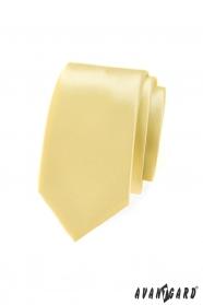 Jednofarebná svetlo žltá kravata SLIM