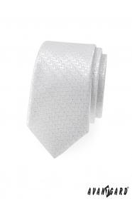 Biela slim kravata ozdobnými prúžky