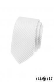 Biela slim kravata s lesklými prúžkami