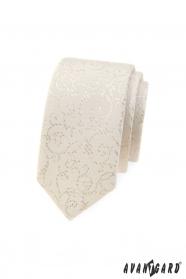 Úzka kravata Avantgard vo smotanovom tóne