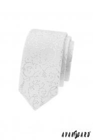 Biela slim kravata so striebornými ornamentami