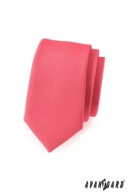Slim kravata v koralovej farbe