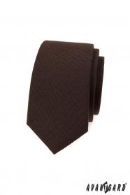 Hnedá slim kravata