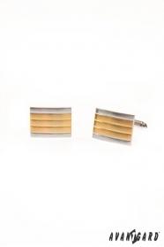 Manžetové gombíky strieborné zlaté prúžky