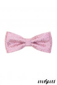 Púdrovo ružový motýlik s paisley vzorom a vreckovkou