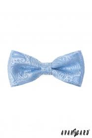 Paisley motýlik s vreckovkou v lesklo modrej farbe