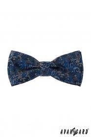 Modrý motýlik s vreckovkou, farebný vzor Paisley