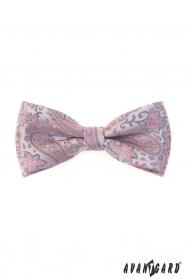 Motýlik s púdrovo ružovým a šedým Paisley vzorom + vreckovka