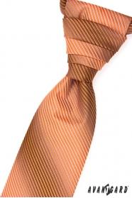 Francúzska kravata oranžová prúžkovaná