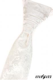 Krémová vzorovaná francúzska kravata