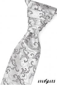 Francúzska kravata čierno sivé motívy