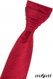 Červená francúzska kravata v sade s vreckovkou