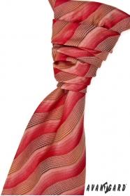 Francúzska kravata s vreckovkou červeno hnedá