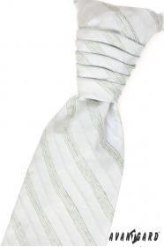 Francúzska kravata s vreckovkou zelené prúžky
