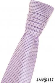 Francúzska kravata s fialovými prúžkami a vreckovkou
