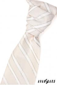 Francúzska kravata bežová strieborné prúžky