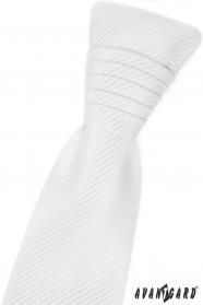 Biela francúzska kravata s lesklými prúžkami